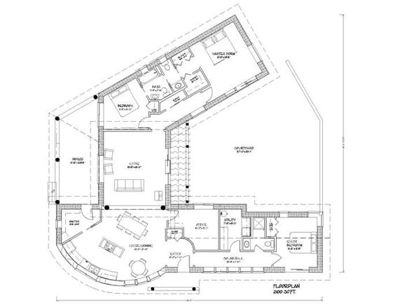 House plans courtyards and larger on pinterest for Strawbale house plans