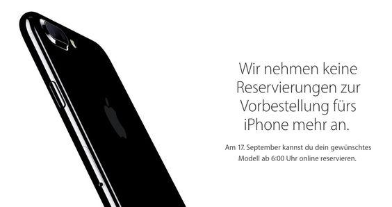 iPhone 7 kaufen: Keine Reservierung mehr möglich, iPhone 7 Vorbestellung endet am 16. September - https://apfeleimer.de/2016/09/iphone-7-kaufen-reservierung-iphone-7-vorbestellung-endet-am-16-september - iPhone kaufen: iPhone 7 mit & ohne Vertrag! Seit Freitag läuft der iPhone 7 Vorverkauf und Vorbestellung und Apple Fans in ganz Deutschland sind auf der Suche nach den besten Angeboten und Schnäppchen zum neuen iPhone 7 oder iPhone 7 Plus mit und ohne Handyvertrag oder