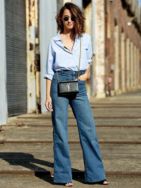 Легкая формула снаряжения: расклешенные джинсы + пуговицы - шкаф с одеждой