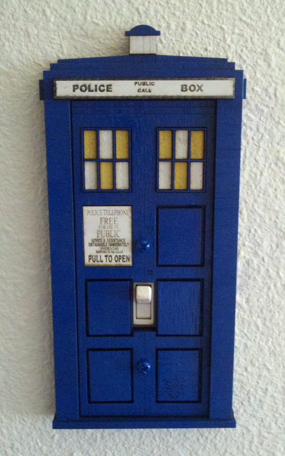Doctor who tardis switch plate cover dr who light for Tardis light switch cover