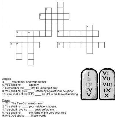 Printables 10 Commandments Worksheet ten commandments crossword and kids bible on pinterest worksheets free printable puzzles
