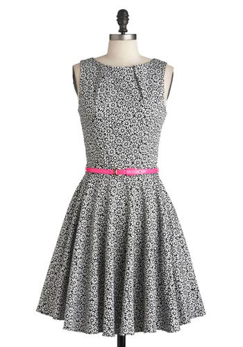 #modcloth-The A-line silhouette and pleated details of this gorgeous, daisy-dotted black and white dress flaunt effortless femininity, and the golden buckle of its hot pink belt add extra sophistication suitable for Ms. Hepburn