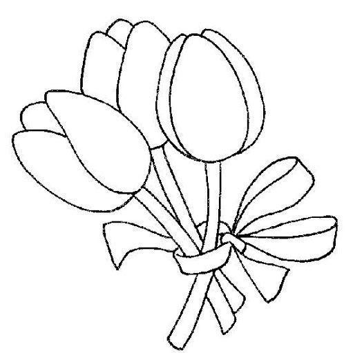 Ramillete De Tulipanes Flores Para Imprimir Plantilla De Flores Disenos Bordados A Mano