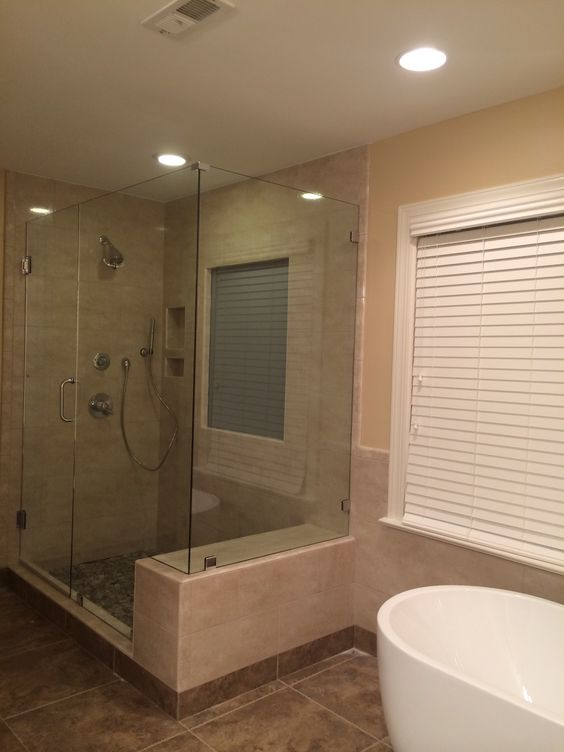 Frameless 90 Degree Corner Shower With Built In Bench Seat Stand Alone Tub Bathroom Inspiration Frameless Shower Enclosures Corner Shower