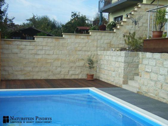Sandstein Mauersteine 20x20x40 cm 4 fach gesägt, Trockenmauer, Natursteinmauer