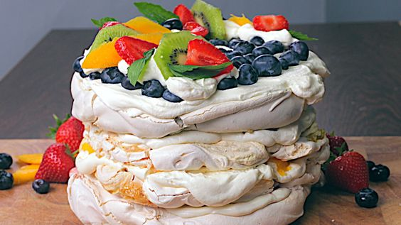 Rainbow Pavlova - use stevia instead of real sugar..and you have a healthy dessert