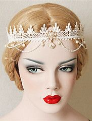 Elegant Simplicity Crown Pearl Lace Hairband – USD $ 7.99
