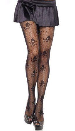 Amazon.com: Leg Avenue Women's Micro Net Skull Print Pantyhose, Black, One Size: Clothing