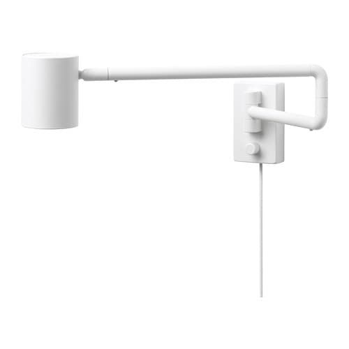 NYMÅNE Wall lamp with swing arm + LED bulb, white IKEA in