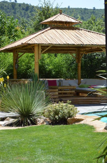 Photo gazebo en bambou d co g n rale du jardin for Deco bambou terrasse