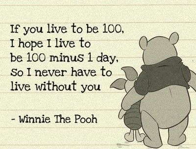 If you live to be 100, I hope I live to be 100 minus 1 day so I never have to live without you - Winnie the Pooh #friendship #books booklikes.com
