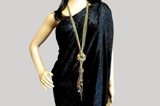 Ketten lang - Lange Halskette Vintage Ethno Kette Modeschmuck - ein Designerstück von BrigitteKoenig bei DaWanda