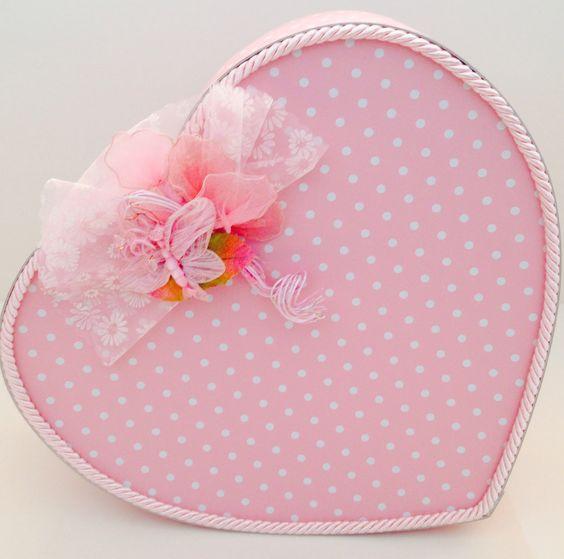 Cuore rosa a pois per confezioni o colazione regalo