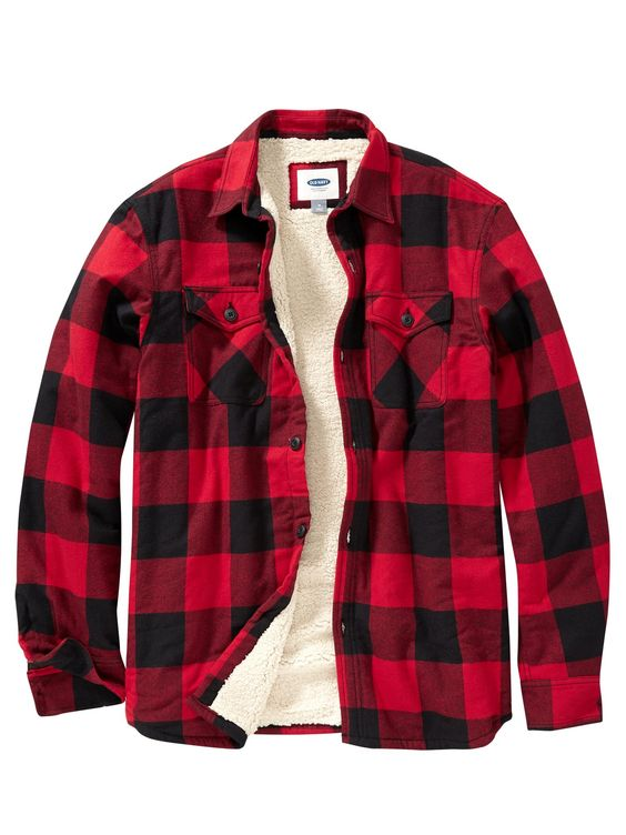 Faux-Shearling-Lined Flannel Shirt Jacket - Red Buffalo Check ...