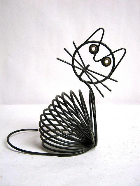 vintage wire cat envelop holder by dirty birdies vintage on Flickr