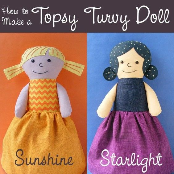 How to Make a Topsy Turvy Doll from Any Rag Doll Pattern - a free tutorial from Shiny Happy World: