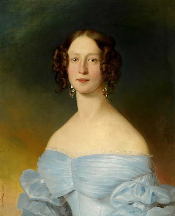 Franz Schrotzberg  (1811-1889)  —   Portrait of a Young Lady in a Blue Dress,  c,1830  (750x925)