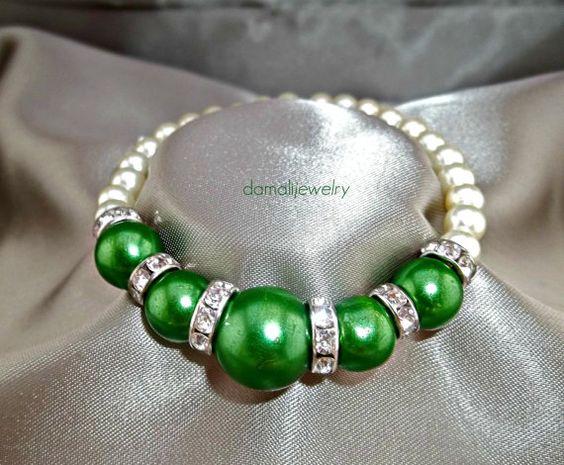Taaj...Green Emerald Pearls Stretch Bracelet by damalijewelry, $20.00