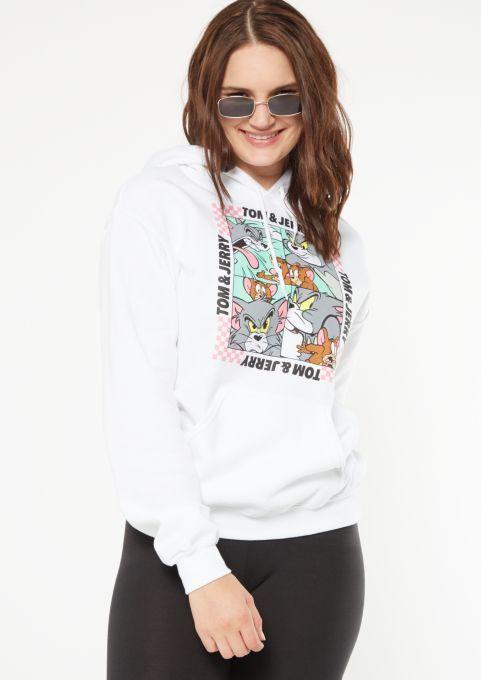 Tom and Jerry Fashion Hoodie Long Sleeve Crop Top Sweatshirt Hoodies for Women