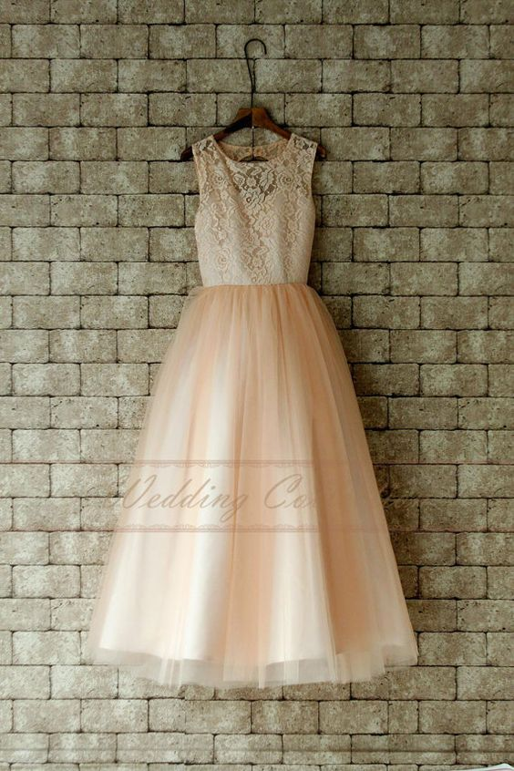 Blush Junior Bridesmaid Dress Lace Flower by Weddingcollection