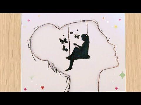 Alone Girl Drawing Kuzel Kiz Cizim رسم بنات رسمة معبرة لبنت وحيدة مع فراشات رسومات سهلة للمبتدئين Youtube Drawings My Drawings