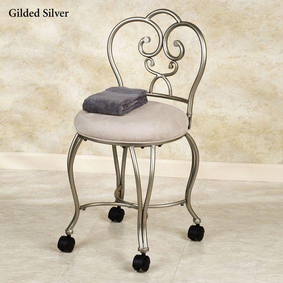 Vanity chairs vanity stool and vanities on pinterest - Vanity chair on wheels ...
