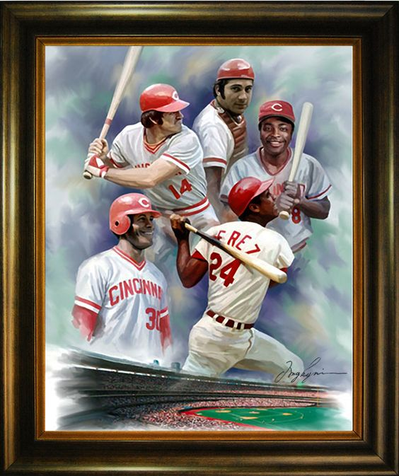 Oil Painting of one of the best dynasties in the history of Baseball: The Big Red Machine members Pete Rose, Johnny Bench, Joe Morgan, Tony Perez and Ken Griffey Sr. (clockwise). http://www.star-portrait.org