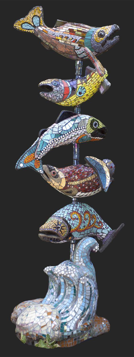 Mosaic Fish Totem 6 Salmon Totem Sculpture By