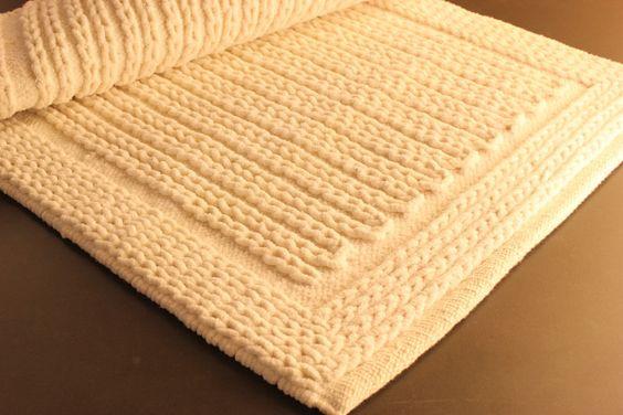 Tappeto in ciniglia di cotone bianco 70x50