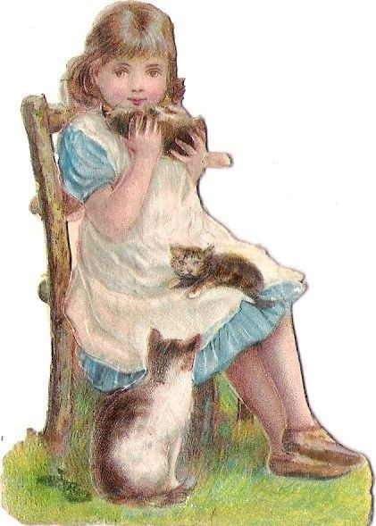 Oblaten Glanzbild scrap die cut chromo Katze cat kitten girl Mädchen Kätzchen: