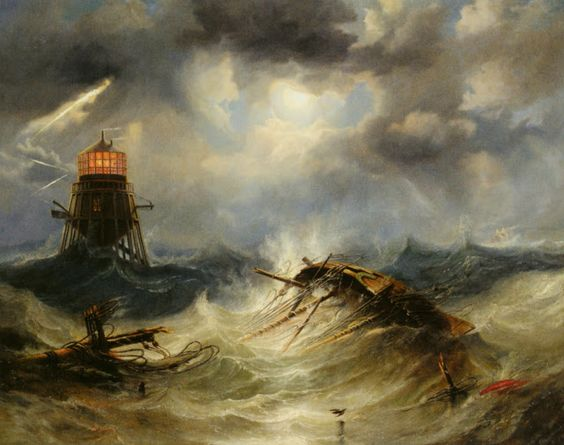 John Wilson Carmichael (ca 1800-1868)-'the Irwin lighthouse storm raging'-oil on canvas1851