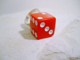 Lucky Dice Fashion Ring In Red White & Silver Sz 6.5-9