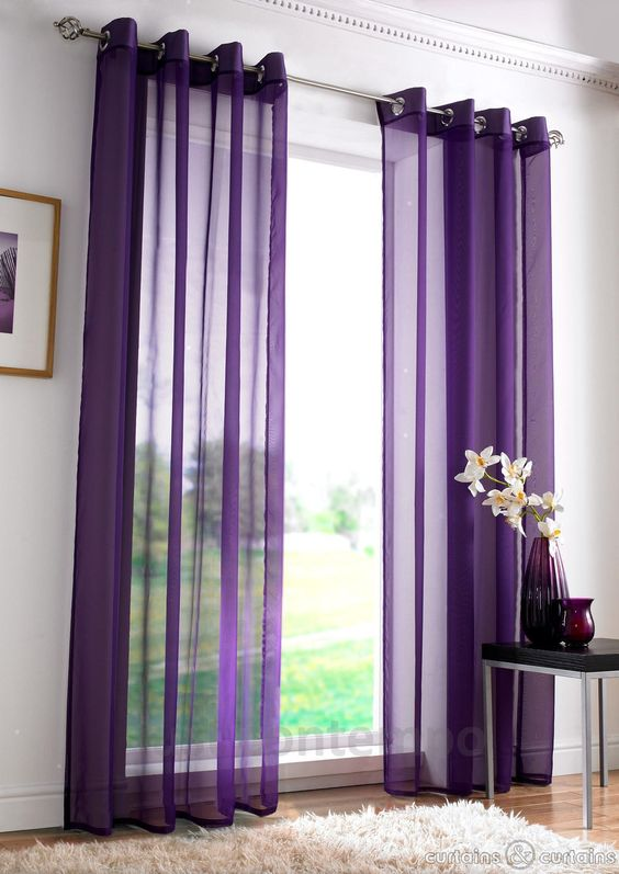 Eyelet Ring Top Purple Voile Net Curtain Panel Purple bedroom