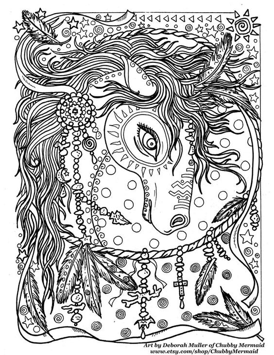advanced printable horse coloring pages   Zentangle Coloring Book pages colouring adult detailed ...