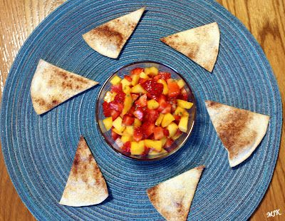 Melissa's Cuisine: Strawberry Mango Salsa with Cinnamon Sugar Tortilla Chips