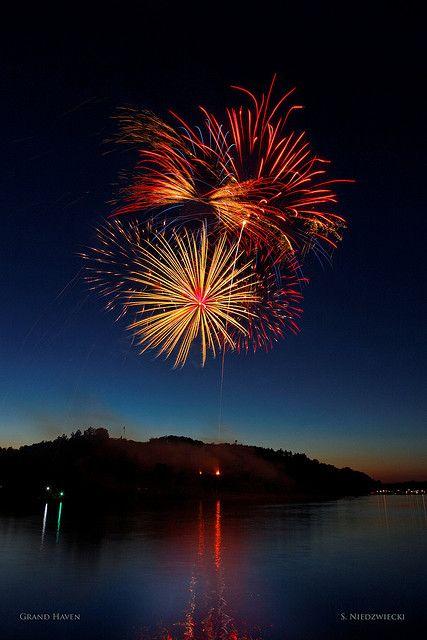 fireworks over a michigan lake = love