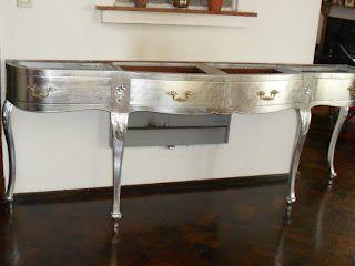 Dressoir plateado a la hoja muebles pintados reciclados - Muebles pintados en plata ...