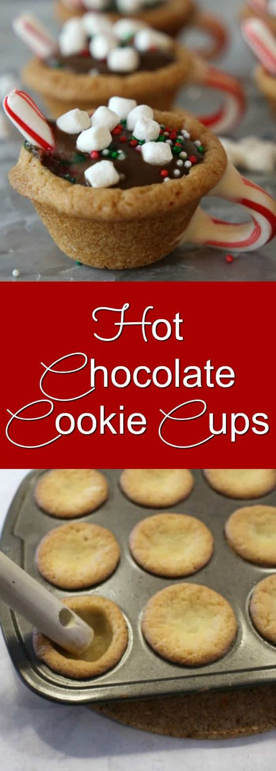These Hot Chocolate Cookie Cups are made with ready to bake sugar cookie dough and pudding cups! Perfect for Christmas parties or cookie exchanges or just to put a smile on someone's face #christmas #christmascookies #christmascookierecipes #easychristmascookie #christmascookieideas #sugarcookies #cookiecups #hotchocolate
