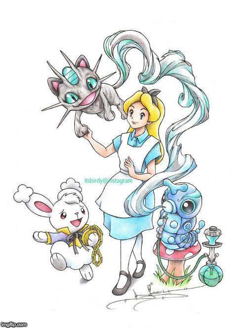 Alice Ist Umringt Von Pokemon Charakteren Die Eigentlich Ins
