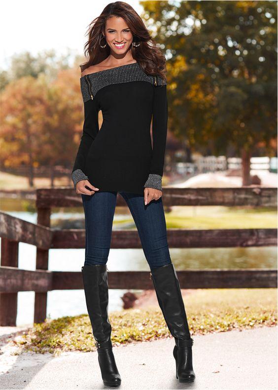 Jetzt anschauen: Dieser feminine Strickpullover der Marke BODYFLIRT stellt alles in den Schatten. Der sehr figurbetont geschnittene Pullover begeistert selbstbewusste Frauen vor allem mit seinem raffinierten Carmen-Ausschnitt, der die Schultern wunderschön in Szene setzt. Die feinen Bündchen am Ausschnitt und an den Ärmeln sind mit glitzerndem Garn durchzogen.  Am besten passt dieser Pullover zu langen, engen Hosen.