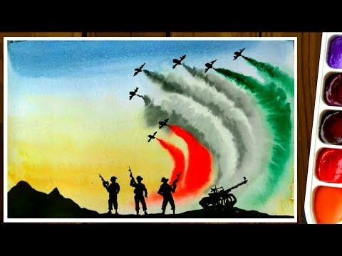 Independence Day Drawing By Water Color 15th August Painting Republic Day Youtube In 2020 Independence Day Drawing Army Drawing Art Drawings Sketches Simple