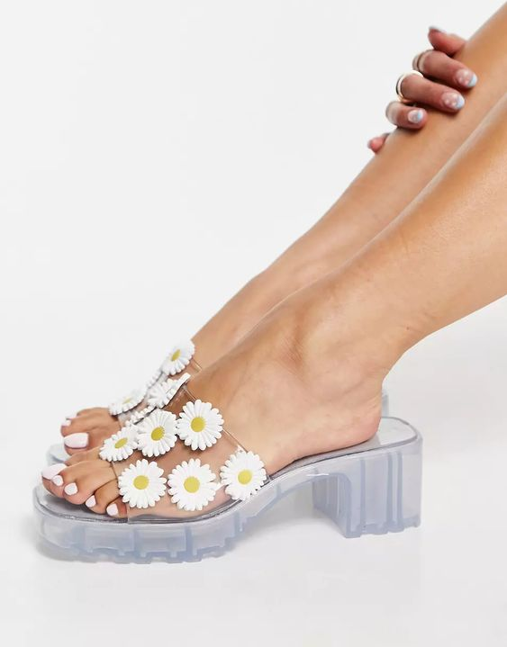 ASOS DESIGN Heat floral jelly heeled mules in clear