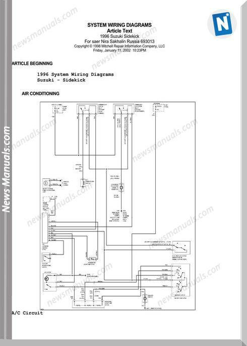 Suzuki Sidekick Vitara Escudo System Wiring Diagrams 1996 In 2021 Suzuki Electrical Wiring Diagram Repair Guide