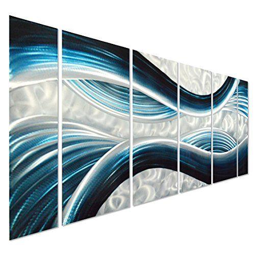 "Blue Desire Large Metal Wall Art - Large Modern Contemporary Sculpture - Decorative Abstract Artwork Set of 6 Panels 65"" x 24"" Pure Art http://www.amazon.com/dp/B00XJQSOZ0/ref=cm_sw_r_pi_dp_sUfzwb0AZ7BNF"