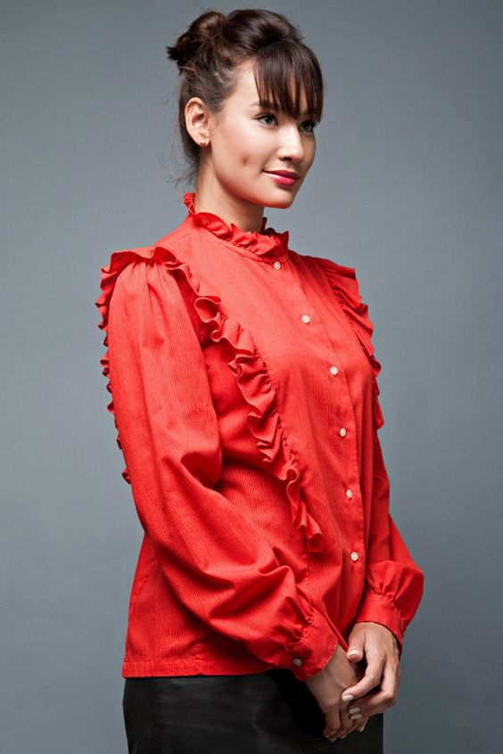 vintage 70s red top blouse ruffles high collar by shoprabbithole