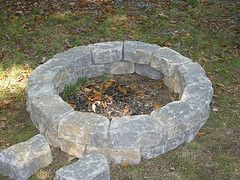 Summer DIY Project Build Fire Pit with Blocks laying around