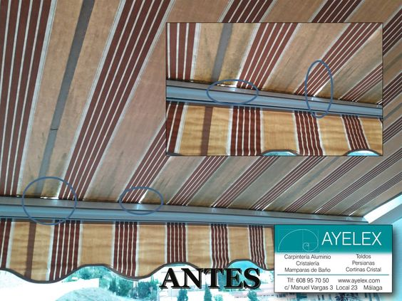 Cambio de lona de toldo de terraza de brazo articulado for Reparar brazo de toldo