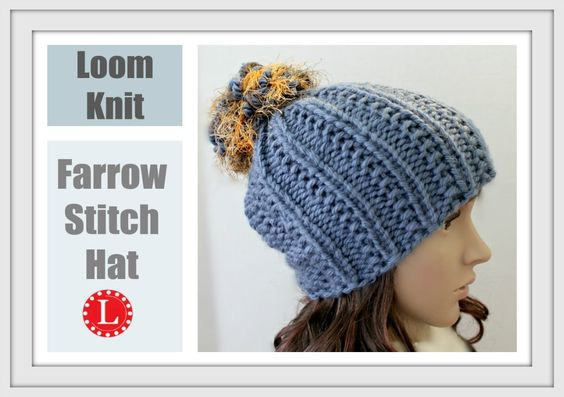 Loom Knitting Beanie Patterns : LOOM KNITTING The Farrow Stitch Beanie Hat Extra Large Round Looms Pattern ...