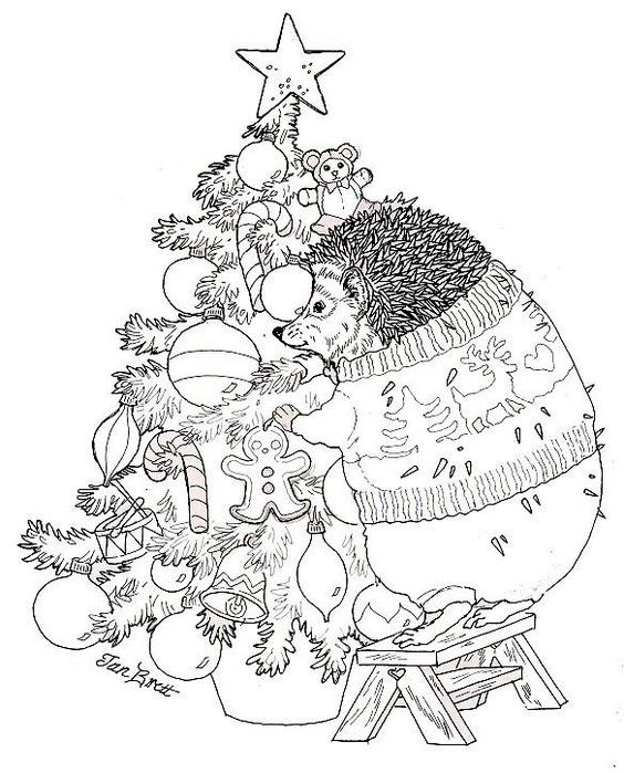 Hedgie Trims The Christmas Tree Free Coloring Page From Coloring Pages Jan Brett