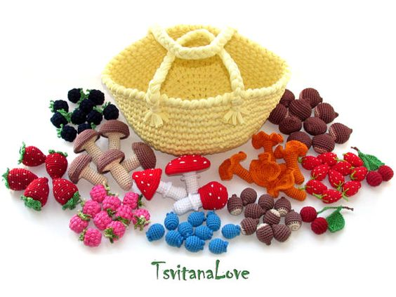 Set of 45 pcs in basket - Toys berries, nuts, mushrooms - Play Crochet Food - gardener, game kitchen, small Scullion, role play